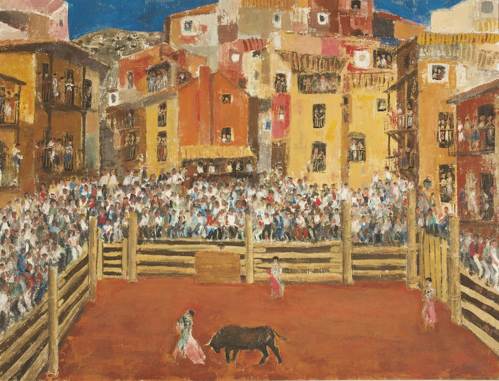 12Capea en Albarracín, 1984-85, Técnica mixta sobre lienzo de 89 x 116 cm.